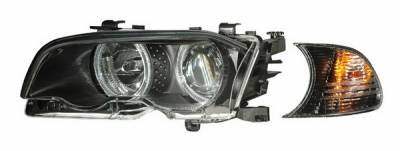 Headlights & Tail Lights - Headlights - Anzo - BMW 3 Series 2DR Anzo Projector Headlights - with Halo Black & Clear with Amber - 121269