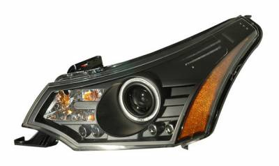 Headlights & Tail Lights - Headlights - Anzo - Ford Focus Anzo Projector Headlights - Black & Clear with Amber Reflectors - 121272