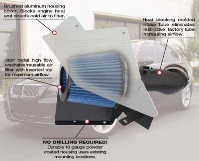 Air Intakes - OEM - Custom - E90 Stage 2 Cold Air Intake - 325 330
