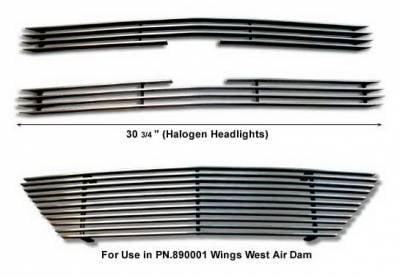 Grilles - Custom Fit Grilles - Wings West - Chevrolet S10 Wings West Billet Grille Set - 3PC - 302010