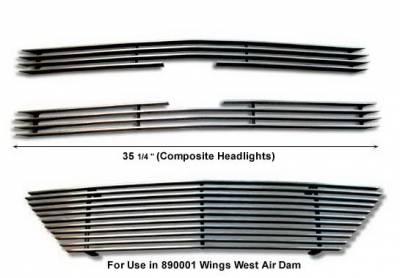 Grilles - Custom Fit Grilles - Wings West - Chevrolet S10 Wings West Billet Grille Set - 3PC - 302020