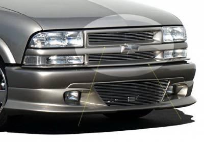 Grilles - Custom Fit Grilles - Wings West - Chevrolet S10 Wings West Brushed Upper Billet Grille - 302012U