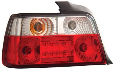 Headlights & Tail Lights - Led Tail Lights - Anzo - BMW 3 Series 4DR Anzo LED Taillights - Red & Clear - 321003