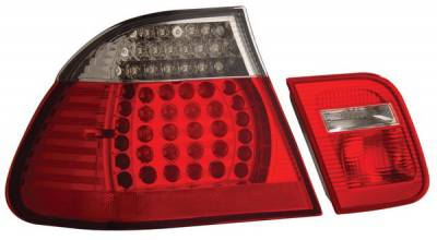 Headlights & Tail Lights - Led Tail Lights - Anzo - BMW 3 Series 4DR Anzo LED Taillights - Red & Clear - 4PC - 321004