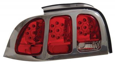 Headlights & Tail Lights - Led Tail Lights - Anzo - Ford Mustang Anzo LED Taillights - Red & Clear - 321021