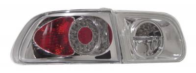 Headlights & Tail Lights - Led Tail Lights - Anzo - Honda Civic HB Anzo LED Taillights - Chrome - 321036
