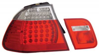 Headlights & Tail Lights - Led Tail Lights - Anzo - BMW 3 Series 4DR Anzo LED Taillights - Red & Clear - 321096
