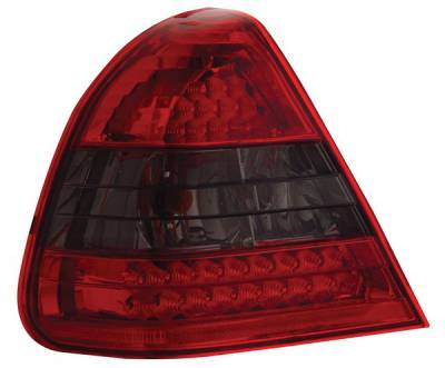 Headlights & Tail Lights - Led Tail Lights - Anzo - Mercedes-Benz C Class Anzo LED Taillights - Crystal Lens - Red & Smoke - 321112