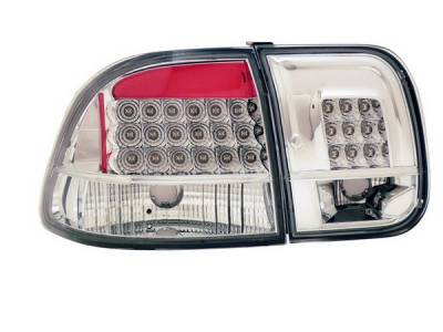 Headlights & Tail Lights - Led Tail Lights - Anzo - Honda Civic 4DR Anzo LED Taillights - All Chrome - 4PC - 321156