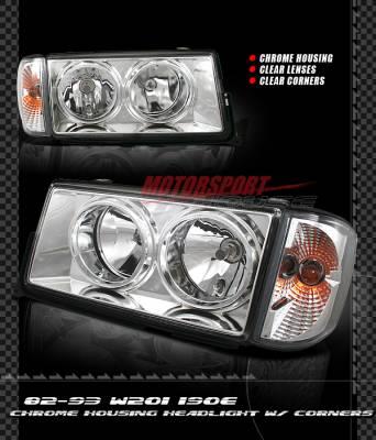 Headlights & Tail Lights - Headlights - Custom - Euro Chrome Headlights With Corner Lights - 190E