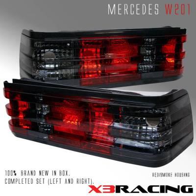 Headlights & Tail Lights - Tail Lights - Custom - Euro Red Smoke Taillights - 190E