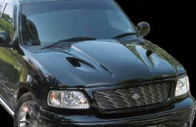 F150 - Hoods - APM. - Ford F150 APM Fiberglass Cobra Cowl Non-Functional Hood - Painted - 811090