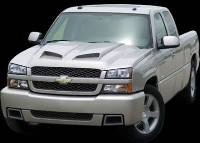 APM - Chevrolet Silverado APM Fiberglass Functional Hood - Primed - 811222