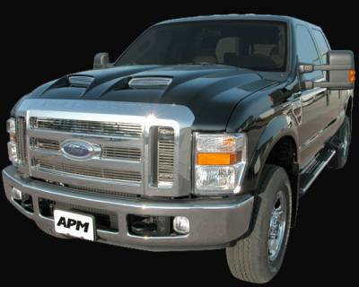 F450 - Hoods - APM. - Ford Superduty APM Fiberglass G-Force Power Hood Functional Hood - Primed - 811302