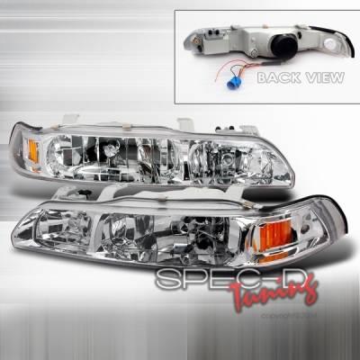 Headlights & Tail Lights - Headlights - Custom Disco - Acura Integra Custom Disco Chrome Euro Headlights with Amber Reflector - 1PC - 2LCLH-INT901PC