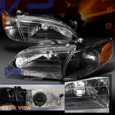 Headlights & Tail Lights - Headlights - Custom Disco - Toyota Corolla Custom Disco Black Headlights - 2LH-COR98JM-KS