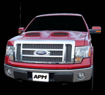 F150 - Hoods - APM - Ford F150 APM Fiberglass G-Force Power Functional Hood - Primed - 811482