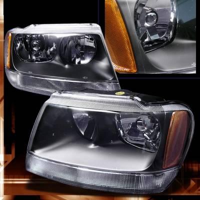 Headlights & Tail Lights - Headlights - Custom Disco - Jeep Grand Cherokee Custom Disco Black Headlights - 2LH-GKEE02JM-KS