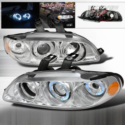 Headlights & Tail Lights - Headlights - Custom Disco - Honda Civic Custom Disco Chrome Dual Halo Projector Headlights - 2LHP-CV923-YD