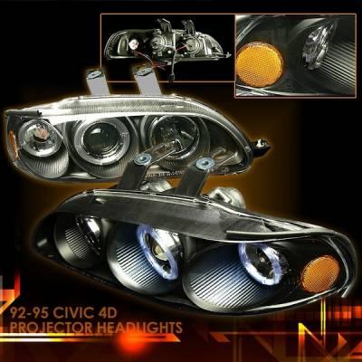 Headlights & Tail Lights - Headlights - Custom Disco - Honda Civic 4DR Custom Disco Black Projector Headlights - 2LHP-CV92JM-YD