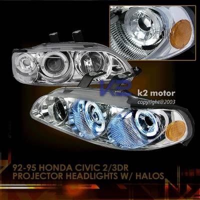 Headlights & Tail Lights - Headlights - Custom Disco - Honda Civic 4DR Custom Disco Clear Projector Headlights - 2LHP-CV92-YD