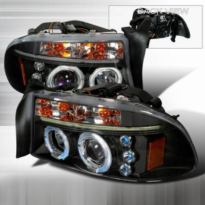 Headlights & Tail Lights - Headlights - Custom Disco - Dodge Dakota Custom Disco Black LED Projector Headlights - 2LHP-DAK97JMB-TM