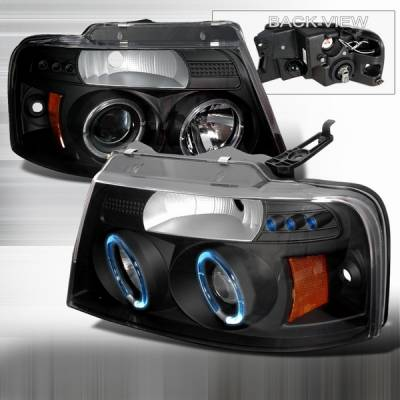 Headlights & Tail Lights - Headlights - Custom Disco - Ford F150 Custom Disco Black Halo Projector Headlights - 2LHP-F15004JM-YD