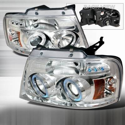 Headlights & Tail Lights - Headlights - Custom Disco - Ford F150 Custom Disco Clear Halo Projector Headlights - 2LHP-F15004-YD