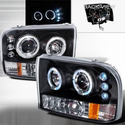 Headlights & Tail Lights - Headlights - Custom Disco - Ford F250 Custom Disco Projector Headlight - LED - 2LHP-F25099JMB-TM