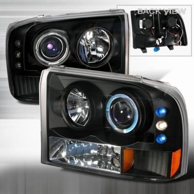 Headlights & Tail Lights - Headlights - Custom Disco - Ford F250 Custom Disco Projector Headlight - LED - 2LHP-F25099JM-YD