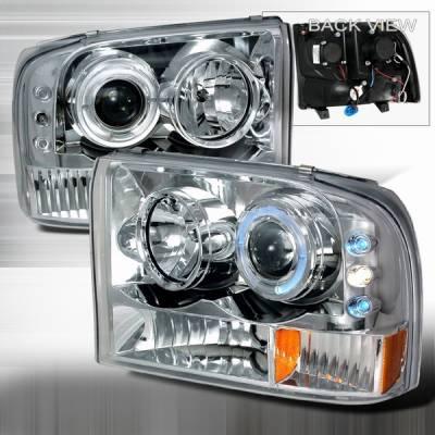 Headlights & Tail Lights - Headlights - Custom Disco - Ford F250 Custom Disco Projector Headlight - LED - 2LHP-F25099-YD