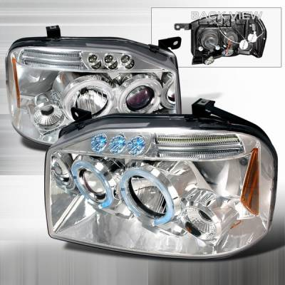 Headlights & Tail Lights - Headlights - Custom Disco - Nissan Frontier Custom Disco Chrome LED Projector Headlights - 2LHP-FRO01B-TM