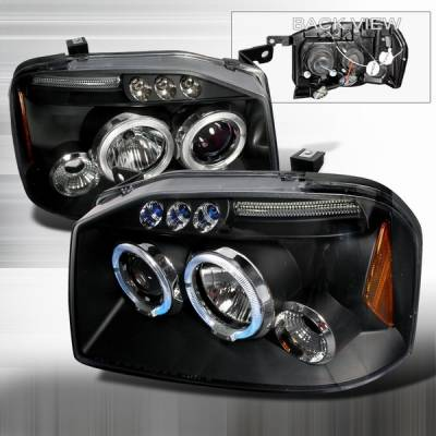 Headlights & Tail Lights - Headlights - Custom Disco - Nissan Frontier Custom Disco Black LED Projector Headlights - 2LHP-FRO01JMB-TM