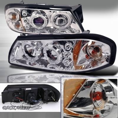 Headlights & Tail Lights - Headlights - Custom Disco - Chevrolet Impala Custom Disco Chrome & Blue LED Halo Projector Headlights with Amber Reflector - 2LHP-IPA00B-TM
