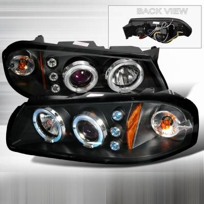 Headlights & Tail Lights - Headlights - Custom Disco - Chevrolet Impala Custom Disco Black & Clear Halo LED Projector Headlights with Amber Reflector - 2LHP-IPA00JM-TM