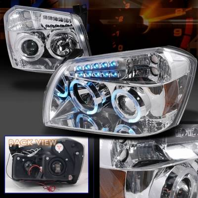Headlights & Tail Lights - Headlights - Custom Disco - Dodge Magnum Custom Disco Chrome Halo LED Projector Headlights with Amber Reflector - 2LHP-MAG05-YD