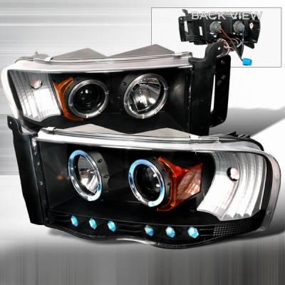 Headlights & Tail Lights - Headlights - Custom Disco - Dodge Ram Custom Disco Black Projector Headlights - 2LHP-RAM02JM-YD