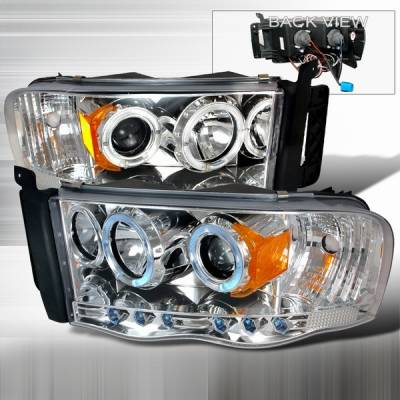 Headlights & Tail Lights - Headlights - Custom Disco - Dodge Ram Custom Disco Chrome Projector Headlights - 2LHP-RAM02-YD