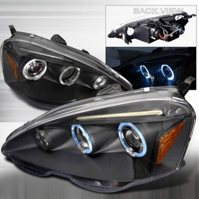 Headlights & Tail Lights - Headlights - Custom Disco - Acura RSX Custom Disco Black Halo Projector Headlights - 2LHP-RSX02JMB-TM