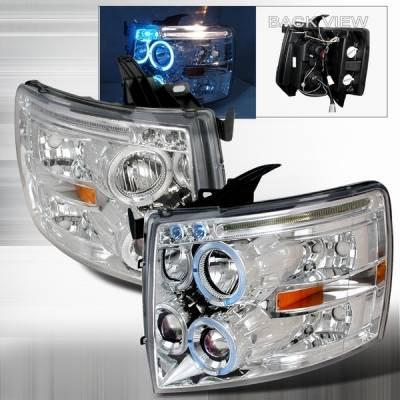 Headlights & Tail Lights - Headlights - Custom Disco - Chevrolet Silverado Custom Disco Chrome Dual Halo Projector Headlights with LED Eyebrows & Amber Reflector - 2LHP-SIV07B-TM