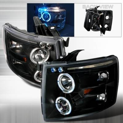 Headlights & Tail Lights - Headlights - Custom Disco - Chevrolet Silverado Custom Disco Black Dual Halo Projector Headlights with LED Eyebrows & Amber Reflector - 2LHP-SIV07JMB-TM