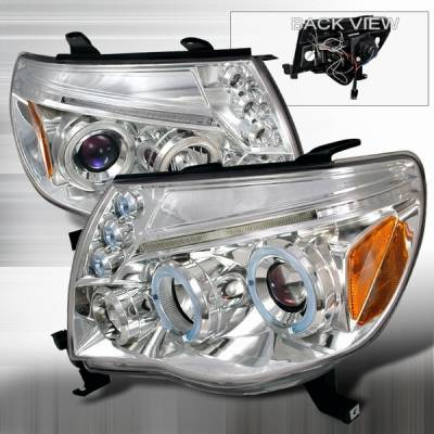 Headlights & Tail Lights - Headlights - Custom Disco - Toyota Tacoma Custom Disco Chrome Dual Halo Projector Headlights with LED Eyebrows & Amber Reflector - 2LHP-TAC06B-TM