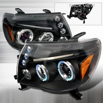 Headlights & Tail Lights - Headlights - Custom Disco - Toyota Tacoma Custom Disco Black Dual Halo Projector Headlights with LED Eyebrows & Amber Reflector - 2LHP-TAC06JMB-TM