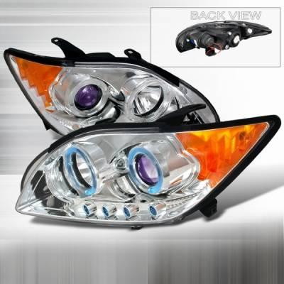 Headlights & Tail Lights - Headlights - Custom Disco - Scion tC Custom Disco Chrome & Blue Dual Halo LED Projector Headlights with Amber Reflector - 2LHP-TC05B-YD
