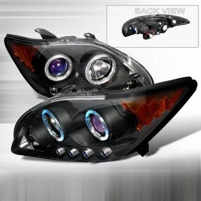 Headlights & Tail Lights - Headlights - Custom Disco - Scion tC Custom Disco Black & Blue Dual Halo LED Projector Headlights with Amber Reflector - 2LHP-TC05JMB-YD