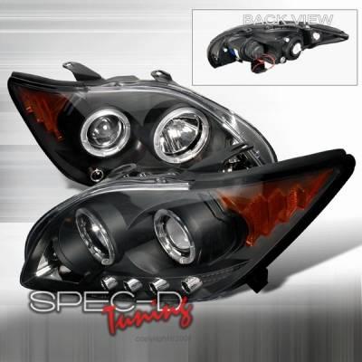 Headlights & Tail Lights - Headlights - Custom Disco - Scion tC Custom Disco Black Dual Halo LED Projector Headlights with Amber Reflector - 2LHP-TC05JM-YD