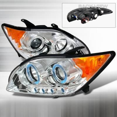 Headlights & Tail Lights - Headlights - Custom Disco - Scion tC Custom Disco Chrome Dual Halo LED Projector Headlights with Amber Reflector - 2LHP-TC05-YD