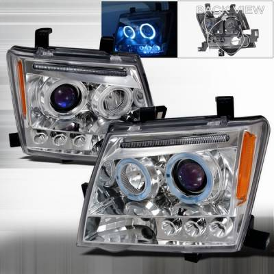 Headlights & Tail Lights - Headlights - Custom Disco - Nissan Xterra Custom Disco Chrome Halo Projector Headlights - 2LHP-XTE05-TM