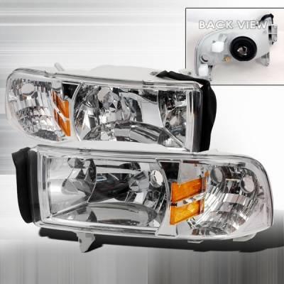 Headlights & Tail Lights - Headlights - Custom Disco - Dodge Ram Custom Disco Clear Euro Headlights with Amber Reflector - 1PC - 2LH-RAM94-ABM