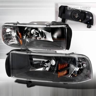 Headlights & Tail Lights - Headlights - Custom Disco - Dodge Ram Custom Disco Black Euro Headlights with Amber Reflector - 1PC - 2LH-RAM94JM-ABM